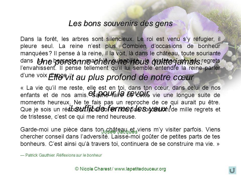 © Nicole Charest / www.lapetitedouceur.org Il faut vouloir survivre La mort des êtres chers, cest un cyclone qui vous aspire, dans lequel vous pouvez