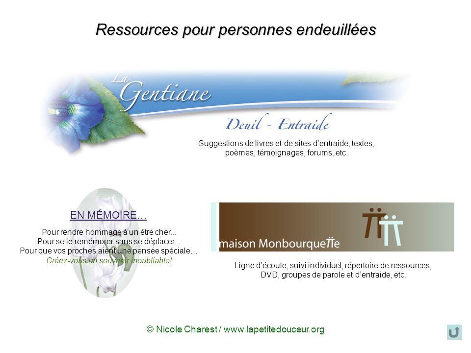 Disponibles sur le site « La petite douceur de la semaine », véritable oasis de ressourcement et de développement.La petite douceur de la semaine nicolecharest@videotron.ca Disponible au Québec et en Europe Bienvenue.