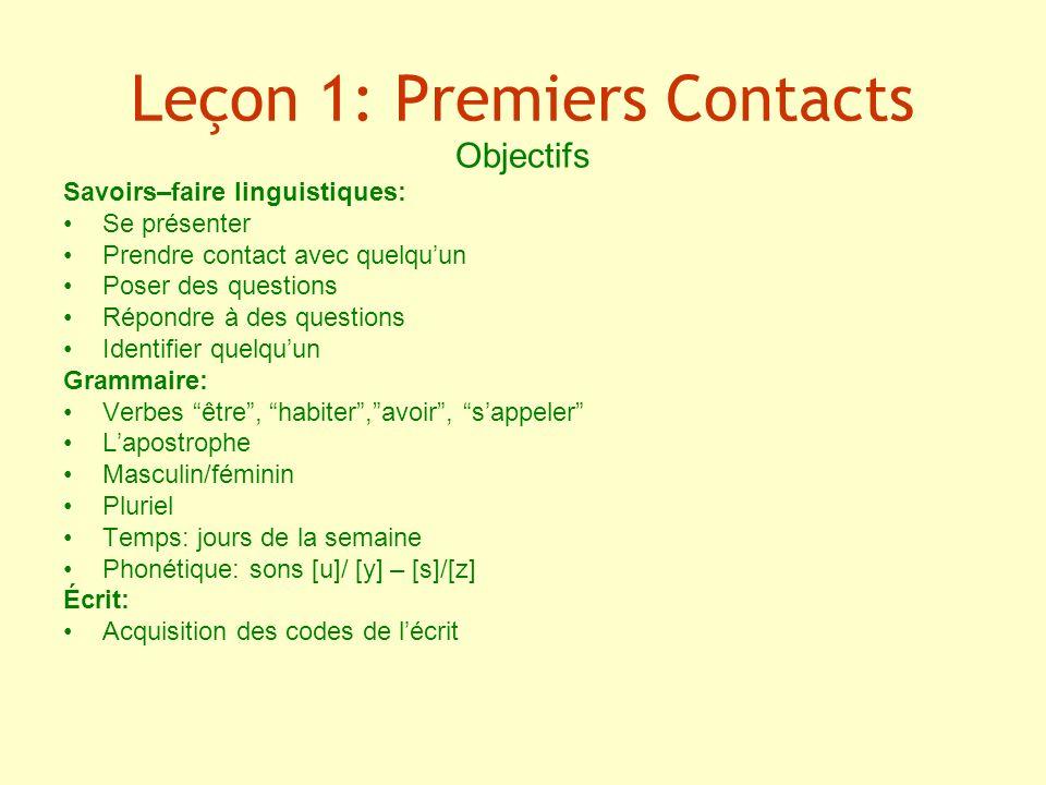 Leçon 1: Premiers Contacts Objectifs Savoirs–faire linguistiques: Se présenter Prendre contact avec quelquun Poser des questions Répondre à des questi