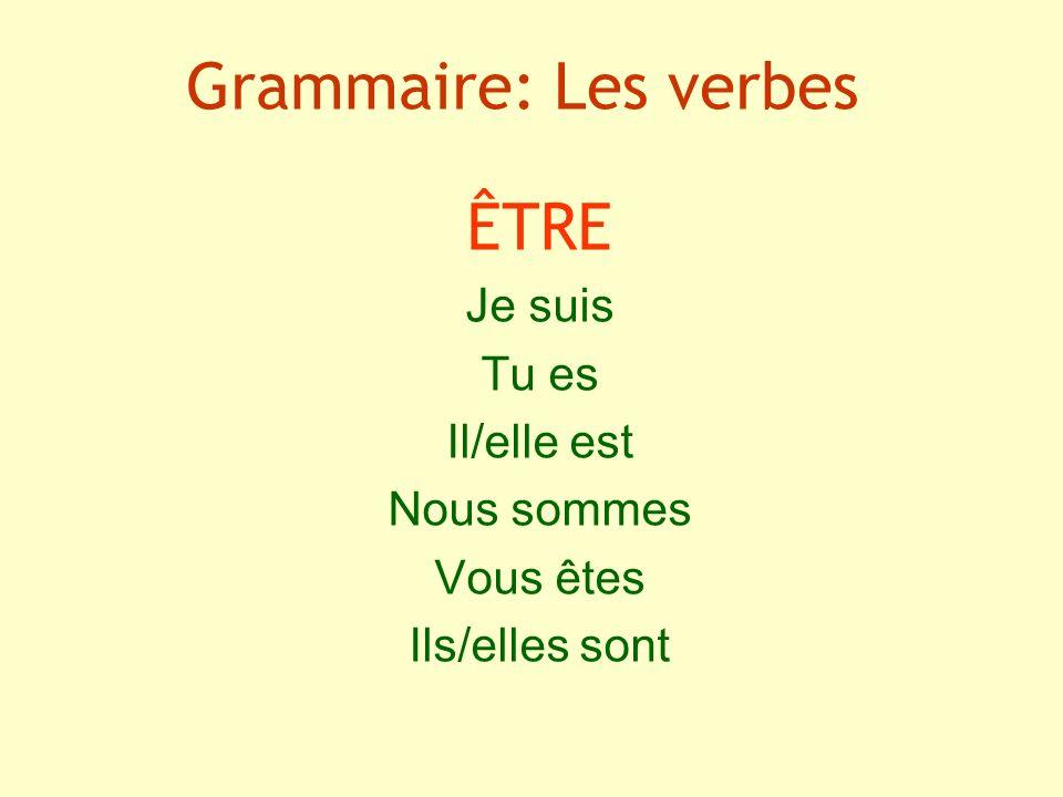Grammaire: Les verbes ÊTRE Je suis Tu es Il/elle est Nous sommes Vous êtes Ils/elles sont