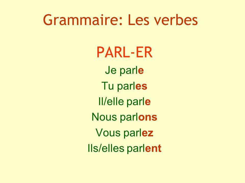 Grammaire: Les verbes PARL-ER Je parle Tu parles Il/elle parle Nous parlons Vous parlez Ils/elles parlent