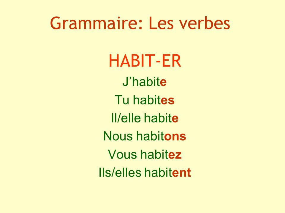 Grammaire: Les verbes HABIT-ER Jhabite Tu habites Il/elle habite Nous habitons Vous habitez Ils/elles habitent
