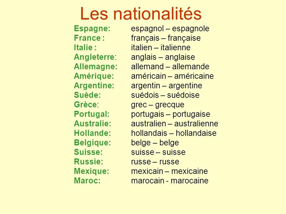Les nationalités Espagne:espagnol – espagnole France : français – française Italie : italien – italienne Angleterre: anglais – anglaise Allemagne: all