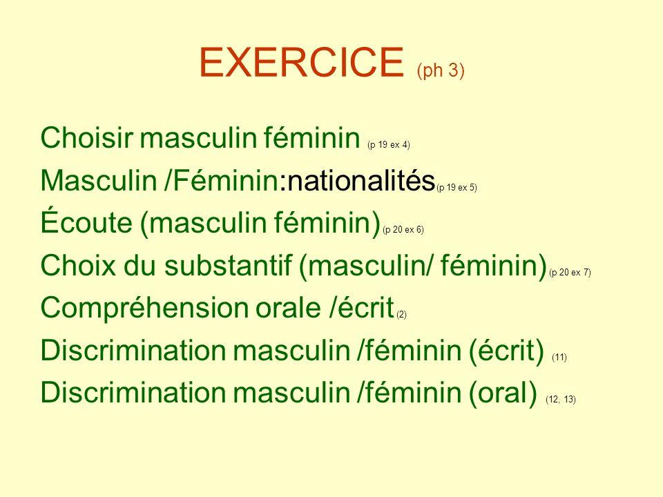 EXERCICE (ph 3) Choisir masculin féminin (p 19 ex 4) Masculin /Féminin:nationalités (p 19 ex 5) Écoute (masculin féminin) (p 20 ex 6) Choix du substan