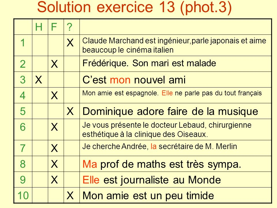 Solution exercice 13 (phot.3) HF.