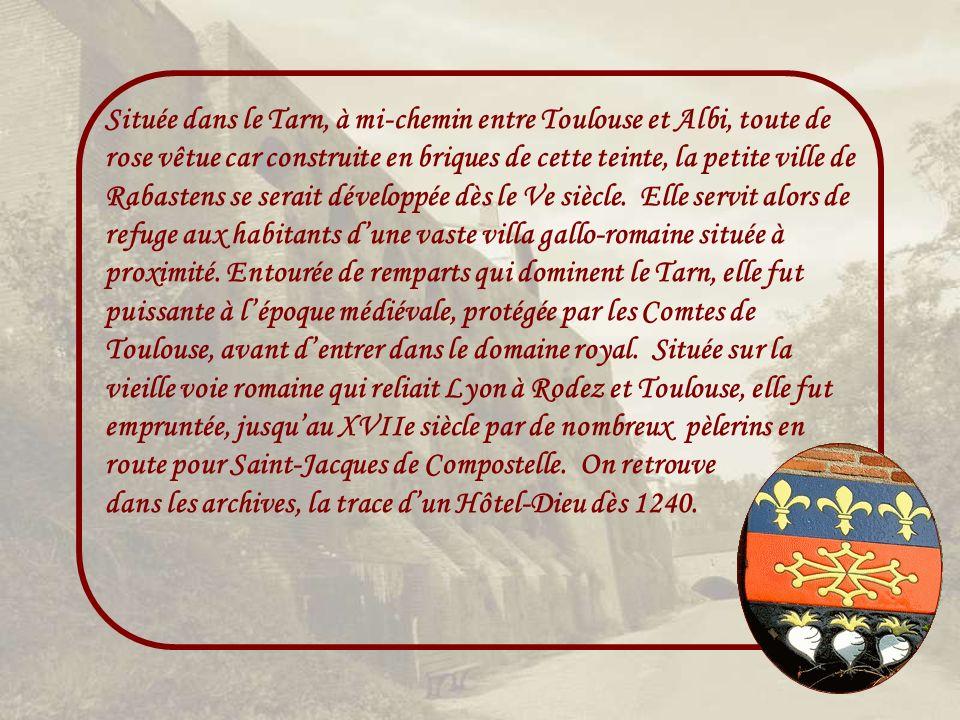 Située dans le Tarn, à mi-chemin entre Toulouse et Albi, toute de rose vêtue car construite en briques de cette teinte, la petite ville de Rabastens se serait développée dès le Ve siècle.