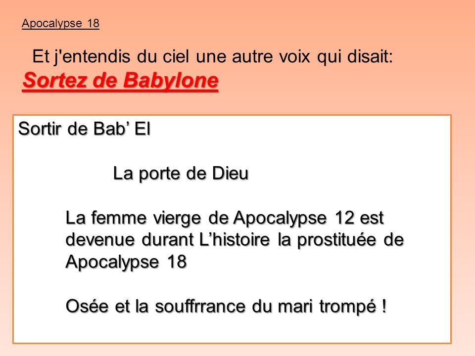 Apocalypse 18 Sortez de Babylone Et j'entendis du ciel une autre voix qui disait: Sortez de Babylone Sortir de Bab El La porte de Dieu La femme vierge