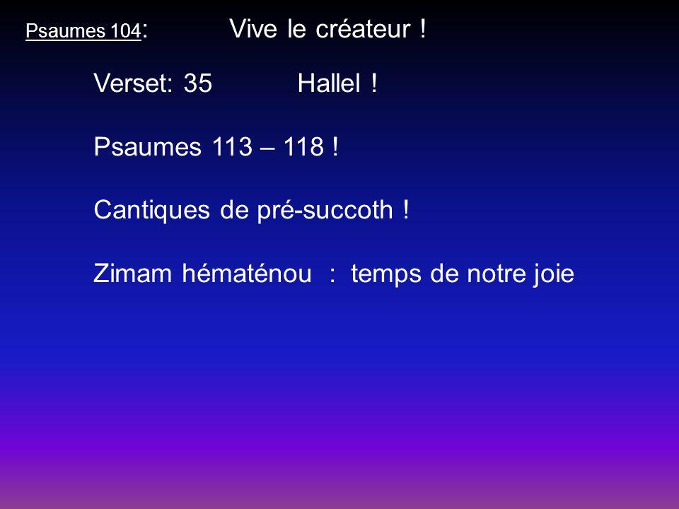 Psaumes 104 : Vive le créateur ! Verset: 35Hallel ! Psaumes 113 – 118 ! Cantiques de pré-succoth ! Zimam hématénou : temps de notre joie