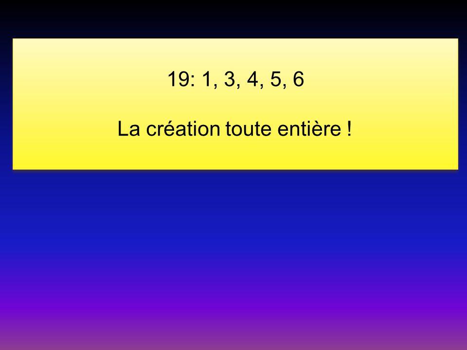 19: 1, 3, 4, 5, 6 La création toute entière ! 19: 1, 3, 4, 5, 6 La création toute entière !