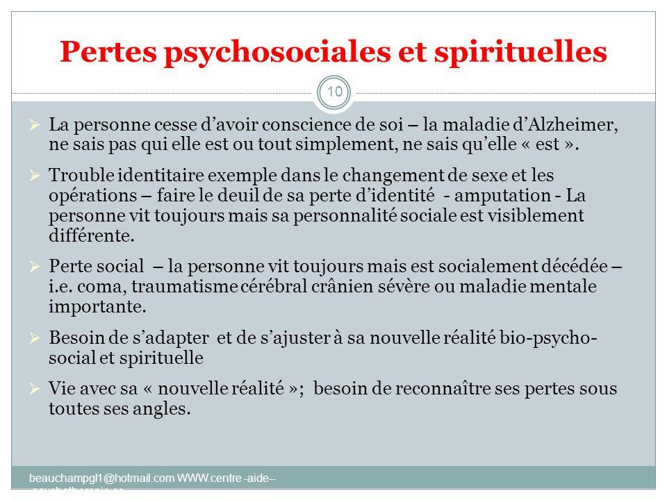 Pertes psychosociales et spirituelles La personne cesse davoir conscience de soi – la maladie dAlzheimer, ne sais pas qui elle est ou tout simplement,