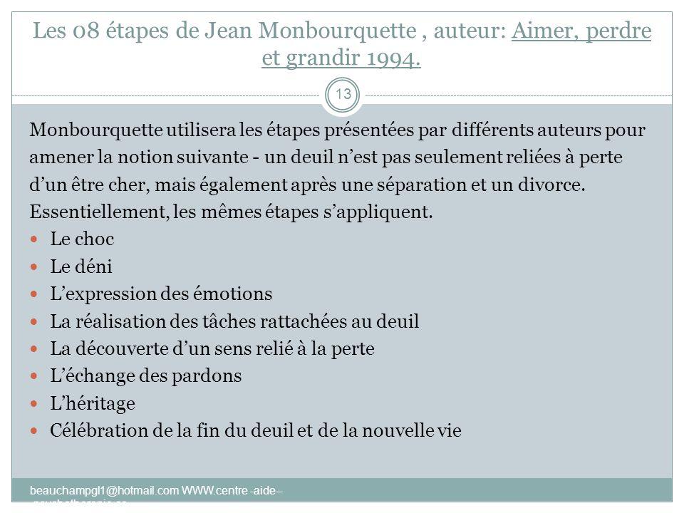 Les 08 étapes de Jean Monbourquette, auteur: Aimer, perdre et grandir 1994. beauchampgl1@hotmail.com WWW.centre -aide-- -psychotherapie.ca 13 Monbourq