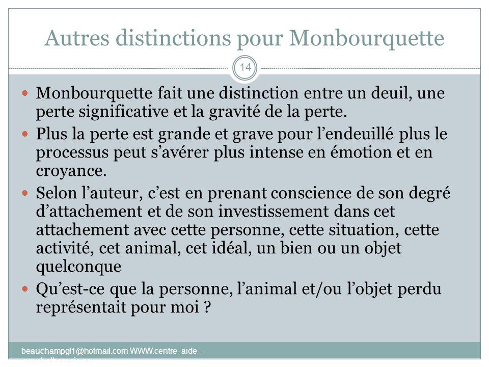 Autres distinctions pour Monbourquette beauchampgl1@hotmail.com WWW.centre -aide-- -psychotherapie.ca 14 Monbourquette fait une distinction entre un d
