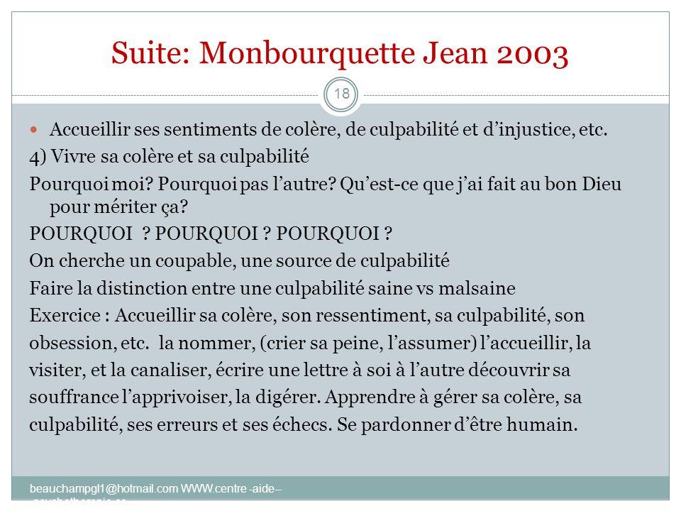 Suite: Monbourquette Jean 2003 Accueillir ses sentiments de colère, de culpabilité et dinjustice, etc. 4) Vivre sa colère et sa culpabilité Pourquoi m