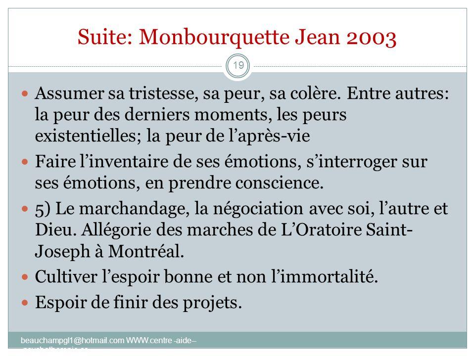 Suite: Monbourquette Jean 2003 Assumer sa tristesse, sa peur, sa colère. Entre autres: la peur des derniers moments, les peurs existentielles; la peur