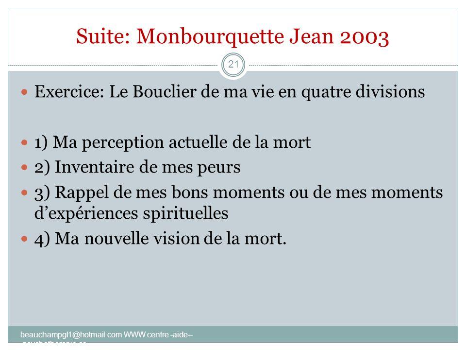 Suite: Monbourquette Jean 2003 Exercice: Le Bouclier de ma vie en quatre divisions 1) Ma perception actuelle de la mort 2) Inventaire de mes peurs 3)