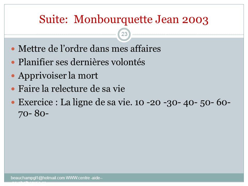 Suite: Monbourquette Jean 2003 Mettre de lordre dans mes affaires Planifier ses dernières volontés Apprivoiser la mort Faire la relecture de sa vie Ex