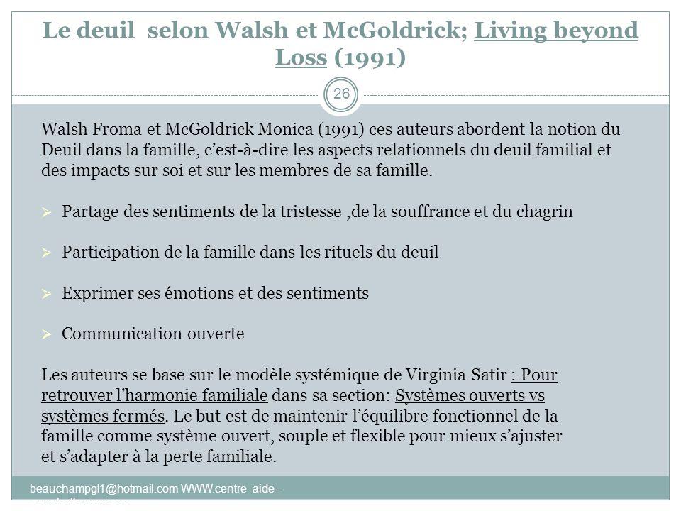 Le deuil selon Walsh et McGoldrick; Living beyond Loss (1991) Walsh Froma et McGoldrick Monica (1991) ces auteurs abordent la notion du Deuil dans la