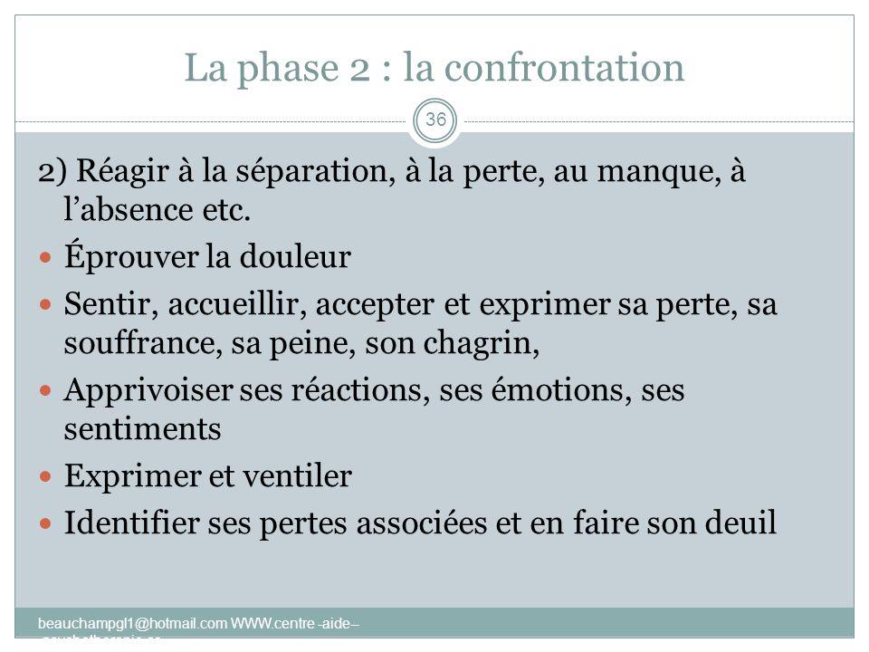 La phase 2 : la confrontation 2) Réagir à la séparation, à la perte, au manque, à labsence etc. Éprouver la douleur Sentir, accueillir, accepter et ex