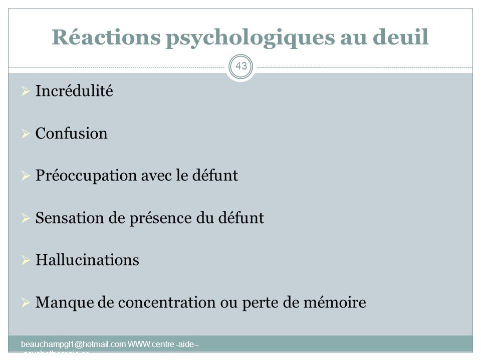 Réactions psychologiques au deuil Incrédulité Confusion Préoccupation avec le défunt Sensation de présence du défunt Hallucinations Manque de concentr