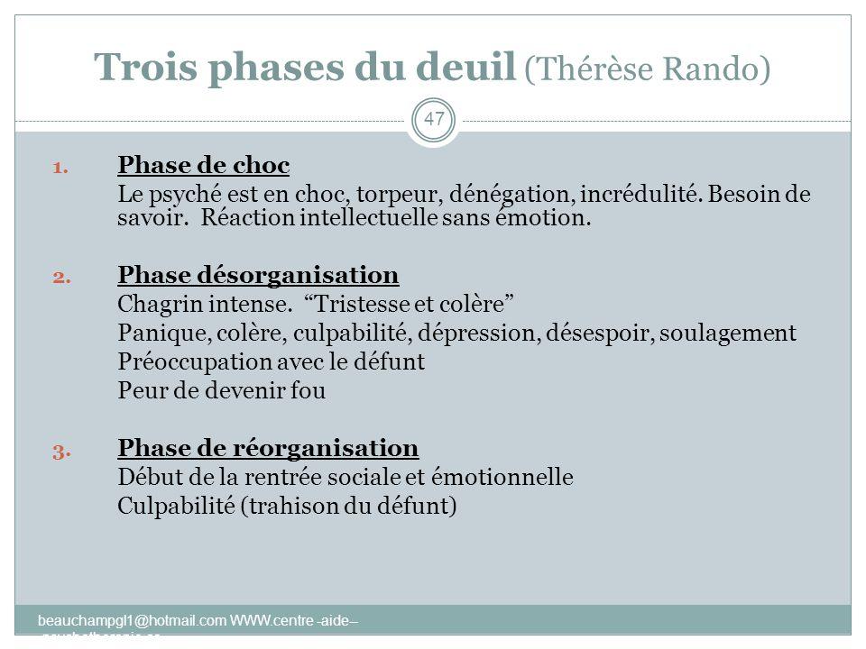 Trois phases du deuil (Thérèse Rando) 1. Phase de choc Le psyché est en choc, torpeur, dénégation, incrédulité. Besoin de savoir. Réaction intellectue
