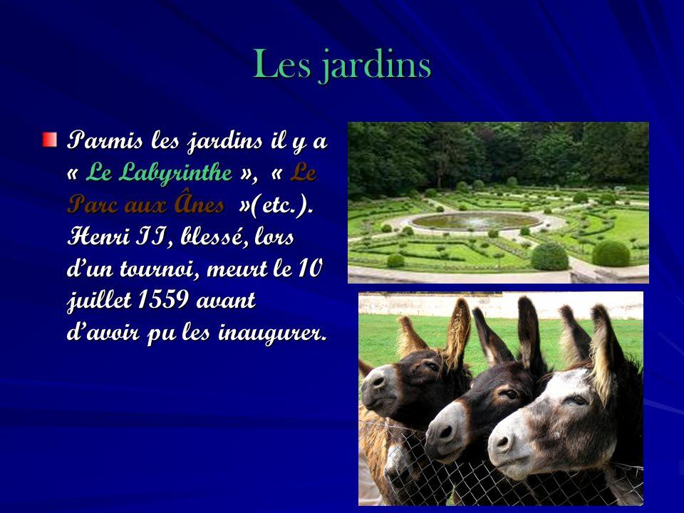 Les jardins Parmis les jardins il y a « Le Labyrinthe », « Le Parc aux Ânes »(etc.). Henri II, blessé, lors dun tournoi, meurt le 10 juillet 1559 avan