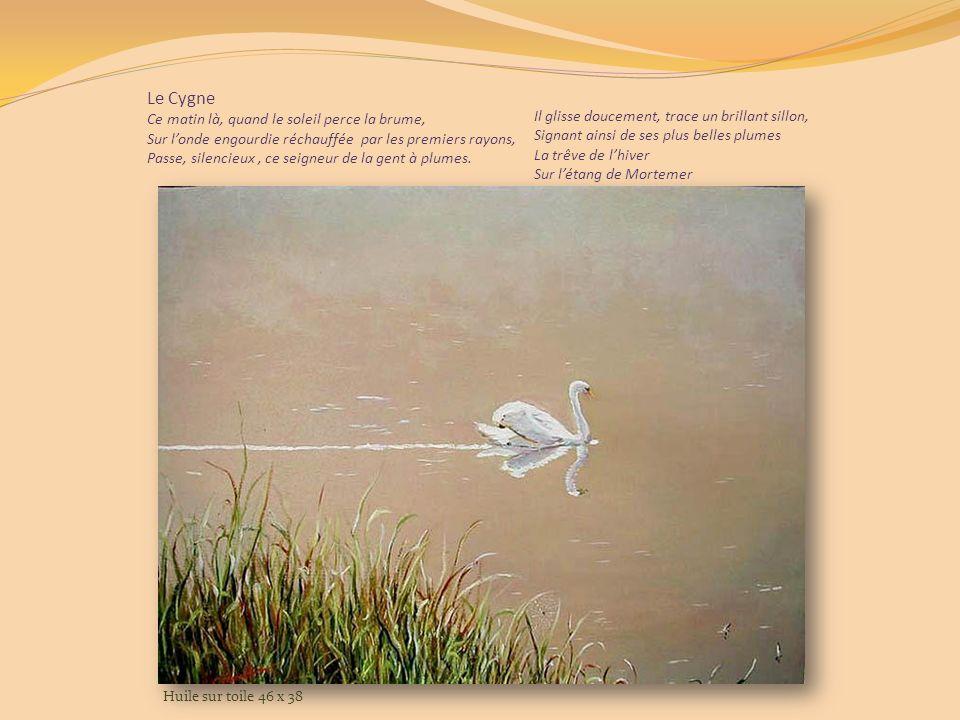 Le Fouillebroc alimente un étang: LEtang de lAbbaye de Mortemer. Et si vous voyez passer le cygne, cest signe que vous pouvez signer. Huile sur toile