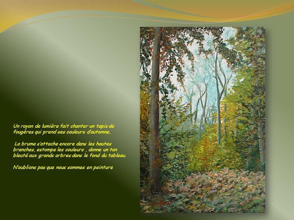 Marchons plus au sec sur la route forestière. La brume sest levée, dégage un ciel bleu sur lequel ressortent toutes les couleurs de lautomne. Peu de p