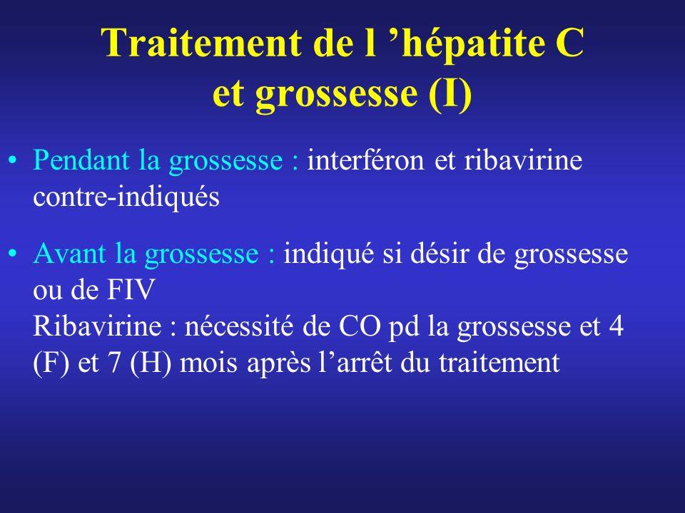 Traitement de l hépatite C et grossesse (I) Pendant la grossesse : interféron et ribavirine contre-indiqués Avant la grossesse : indiqué si désir de g