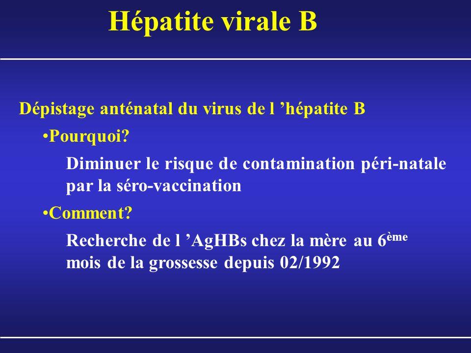 Hépatite virale B Dépistage anténatal du virus de l hépatite B Pourquoi? Diminuer le risque de contamination péri-natale par la séro-vaccination Comme