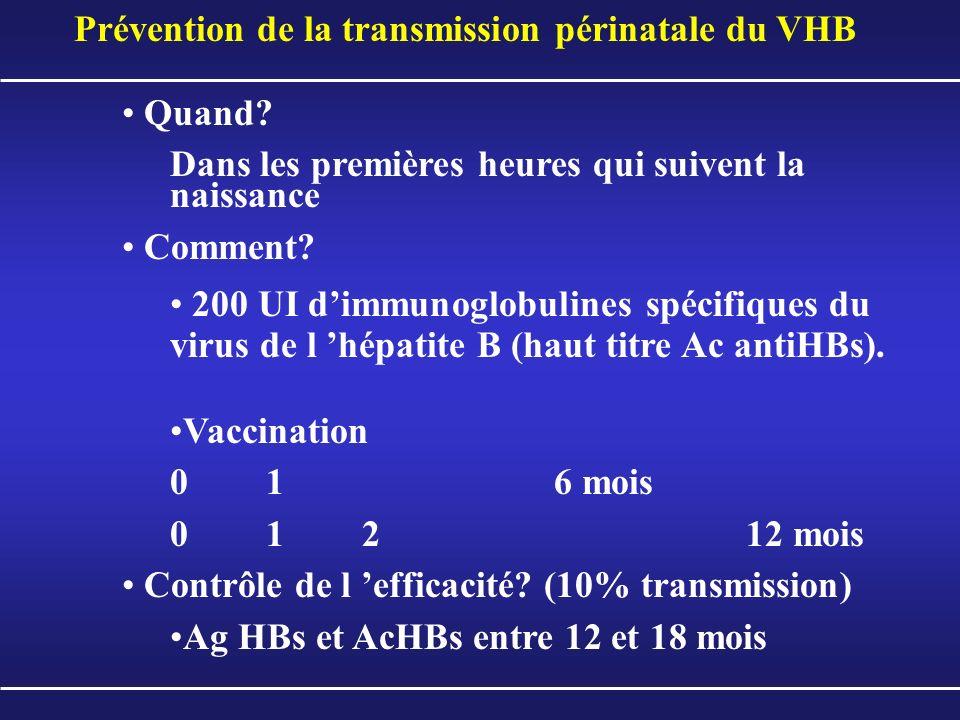 Prévention de la transmission périnatale du VHB Quand? Dans les premières heures qui suivent la naissance Comment? 200 UI dimmunoglobulines spécifique
