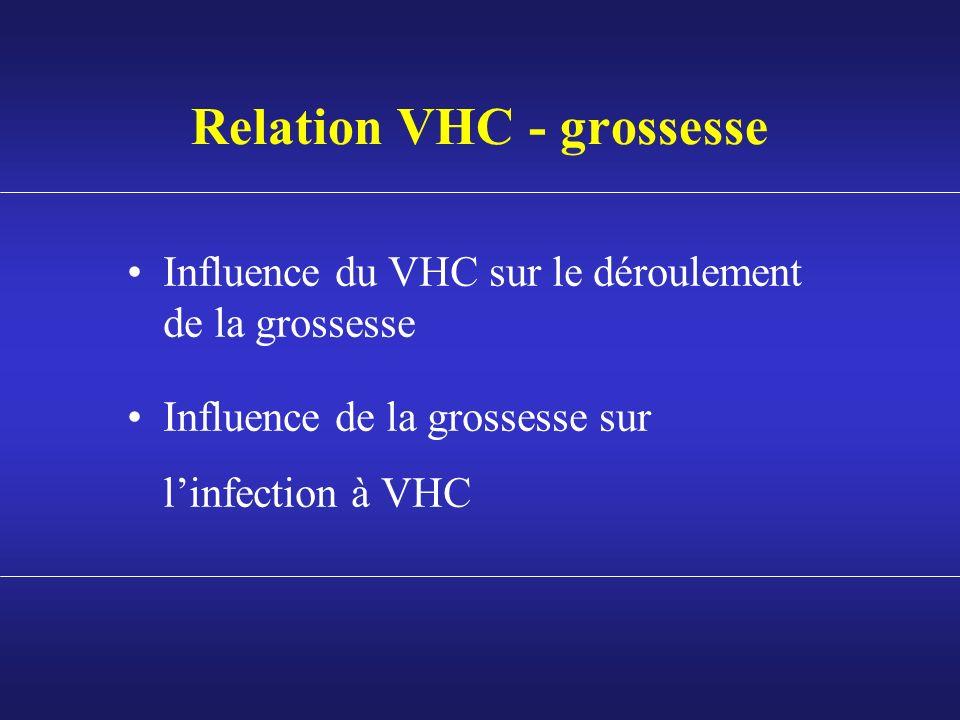 Relation VHC - grossesse Influence du VHC sur le déroulement de la grossesse Influence de la grossesse sur linfection à VHC