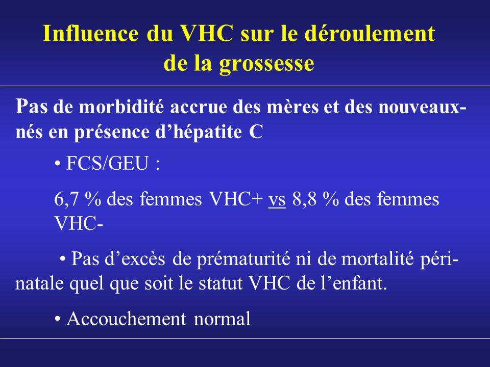 Influence du VHC sur le déroulement de la grossesse Pas de morbidité accrue des mères et des nouveaux- nés en présence dhépatite C FCS/GEU : 6,7 % des