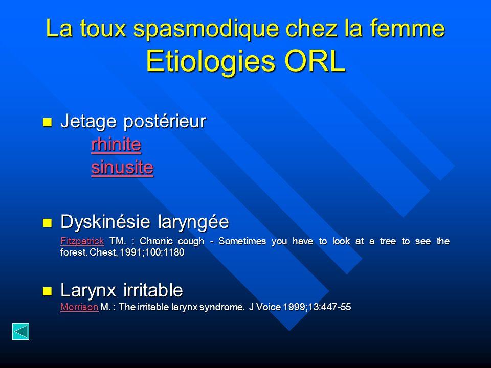 La toux spasmodique chez la femme Etiologies ORL Jetage postérieur rhinite sinusite Jetage postérieur rhinite sinusite rhinite sinusite rhinite sinusi