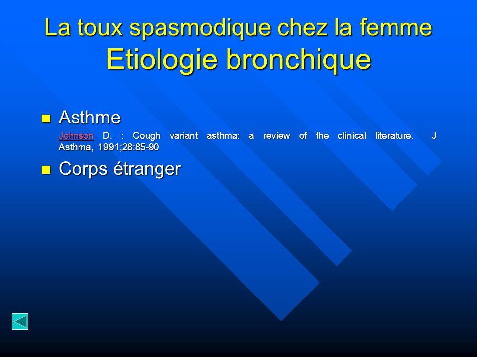 La toux spasmodique chez la femme Etiologie bronchique Asthme Asthme JohnsonJohnson D.