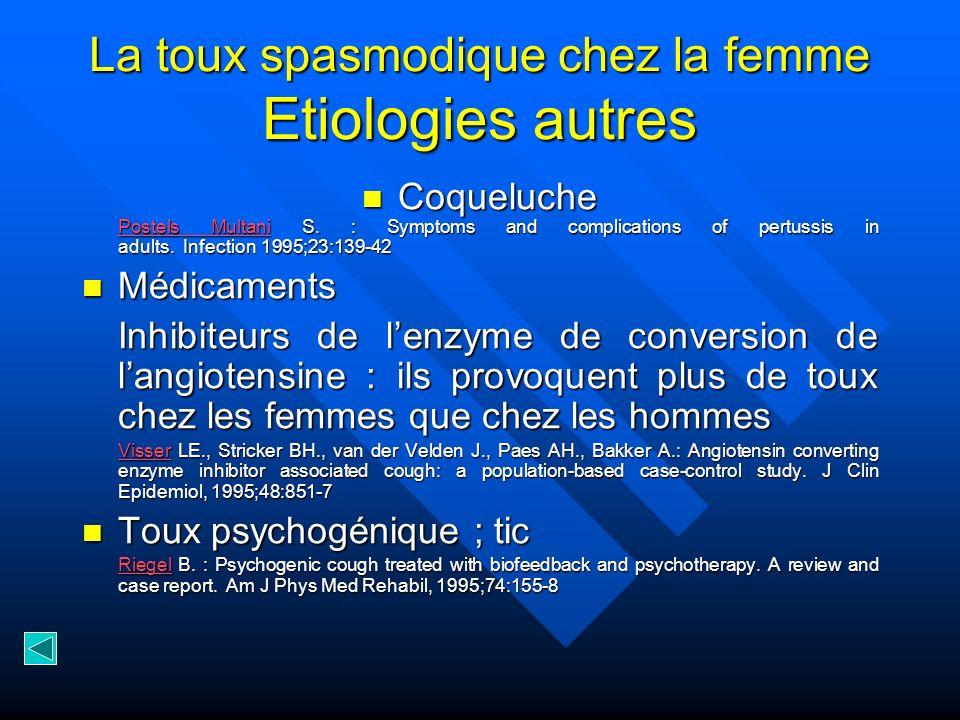 La toux spasmodique chez la femme Etiologies autres Coqueluche Postels Multani S. : Symptoms and complications of pertussis in adults. Infection 1995;