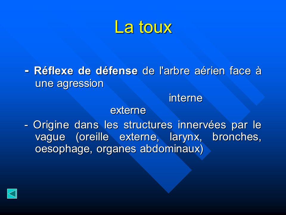 La toux - Réflexe de défense de l'arbre aérien face à une agression - Réflexe de défense de l'arbre aérien face à une agression interne externe - Orig