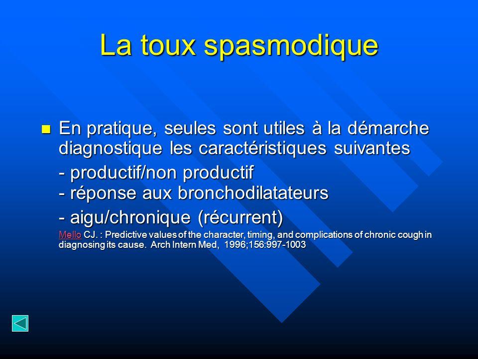 La toux spasmodique En pratique, seules sont utiles à la démarche diagnostique les caractéristiques suivantes En pratique, seules sont utiles à la dém