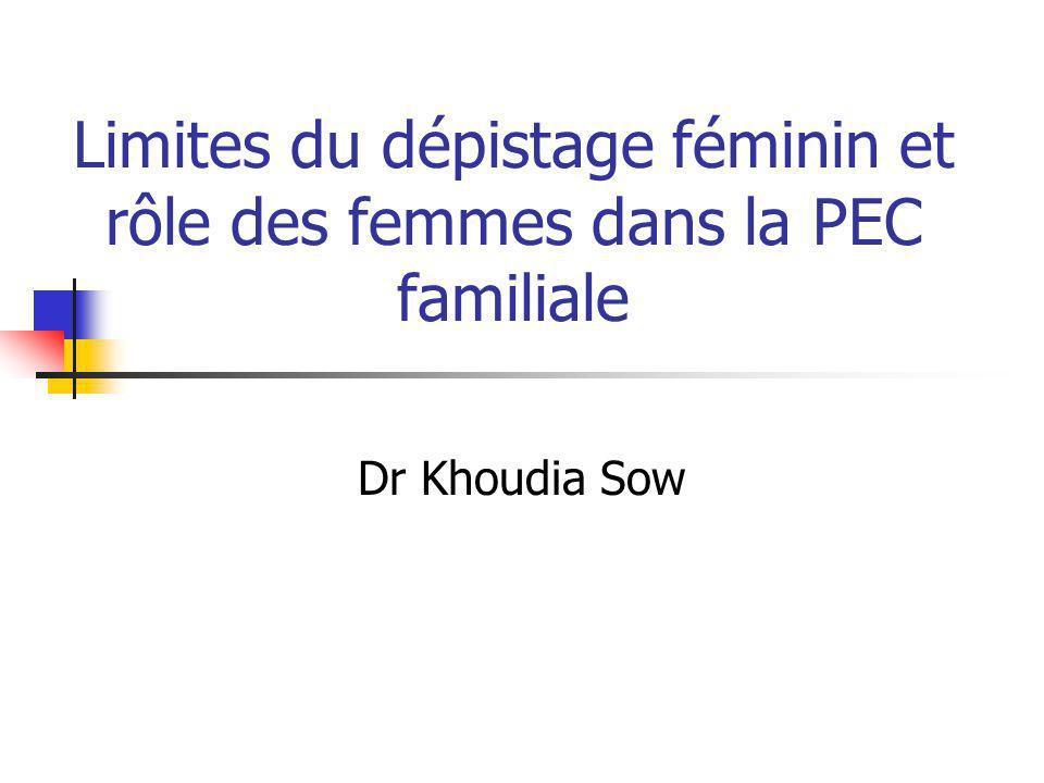 Limites du dépistage féminin et rôle des femmes dans la PEC familiale Dr Khoudia Sow