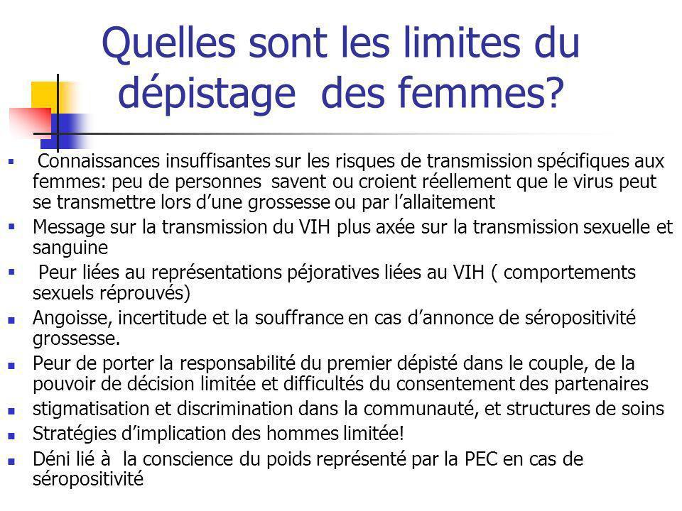 Quelles sont les limites du dépistage des femmes? Connaissances insuffisantes sur les risques de transmission spécifiques aux femmes: peu de personnes