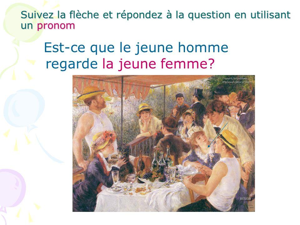 Suivez la flèche et répondez à la question en utilisant un pronom Est-ce que le jeune homme regarde la jeune femme?