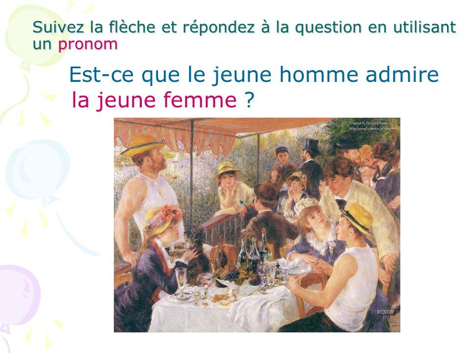 Suivez la flèche et répondez à la question en utilisant un pronom Est-ce que le jeune homme admire la jeune femme ?