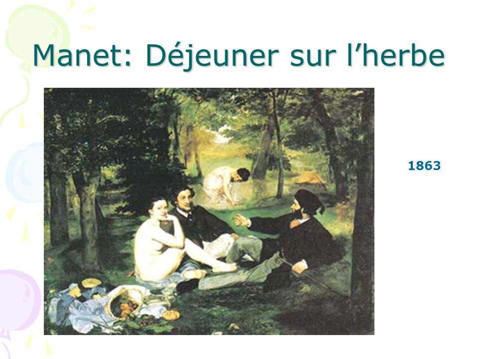 Manet: Déjeuner sur lherbe Est-ce que la femme assise regarde les hommes.