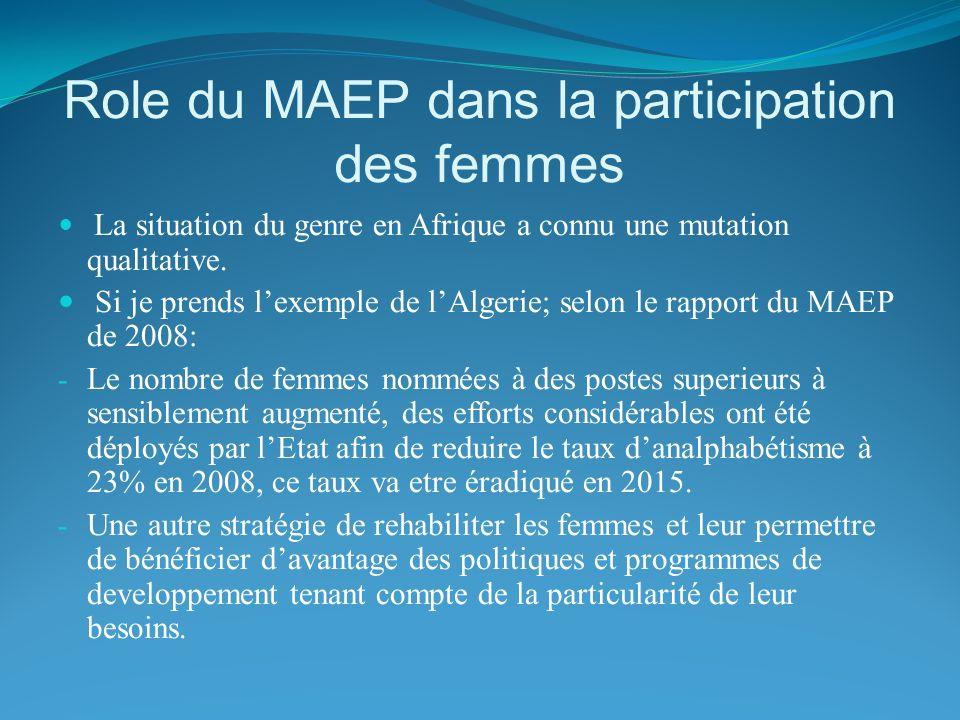 Role du MAEP dans la participation des femmes La situation du genre en Afrique a connu une mutation qualitative. Si je prends lexemple de lAlgerie; se