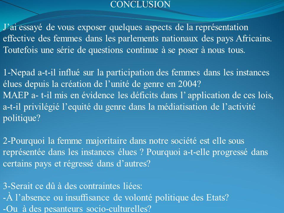 CONCLUSION Jai essayé de vous exposer quelques aspects de la représentation effective des femmes dans les parlements nationaux des pays Africains. Tou