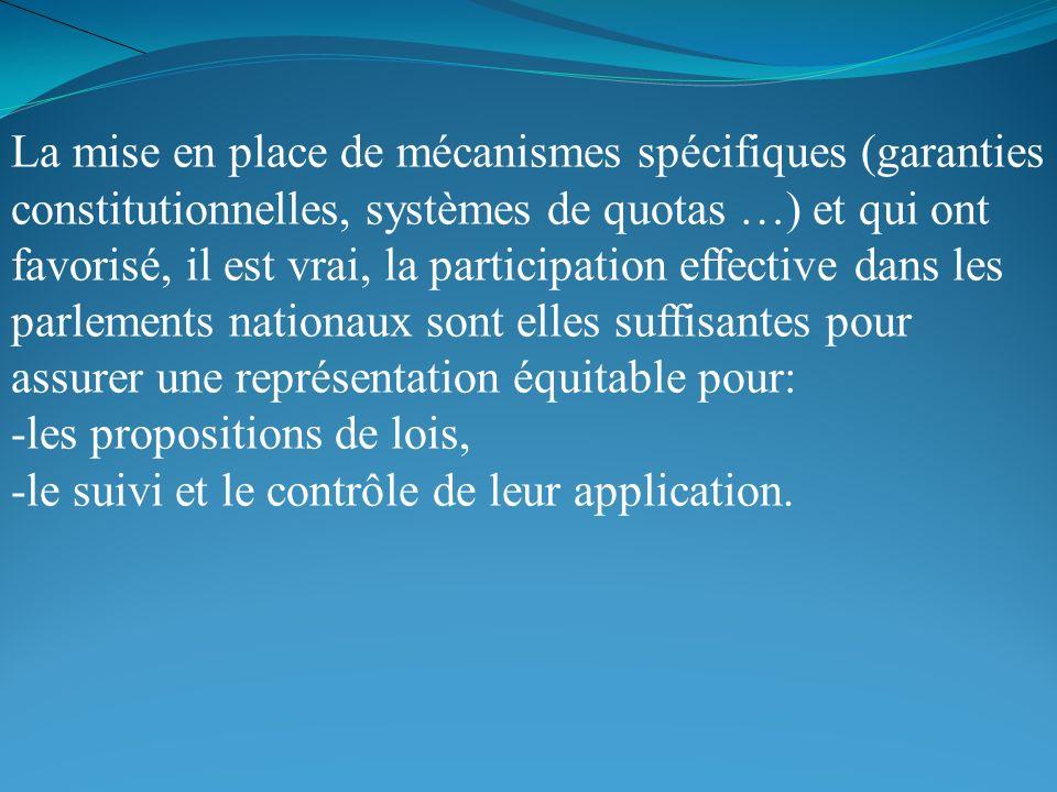 La mise en place de mécanismes spécifiques (garanties constitutionnelles, systèmes de quotas …) et qui ont favorisé, il est vrai, la participation eff