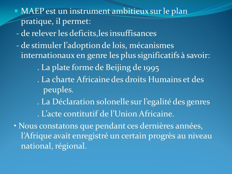 MAEP est un instrument ambitieux sur le plan pratique, il permet: - de relever les deficits,les insuffisances - de stimuler ladoption de lois, mécanis