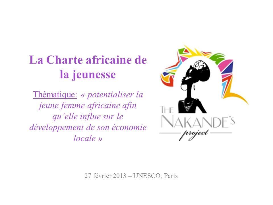 La Charte africaine de la jeunesse Thématique: « potentialiser la jeune femme africaine afin quelle influe sur le développement de son économie locale