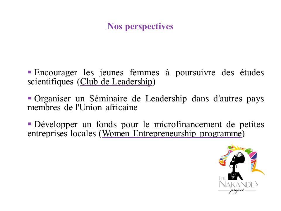 Nos perspectives Encourager les jeunes femmes à poursuivre des études scientifiques (Club de Leadership) Organiser un Séminaire de Leadership dans d'a