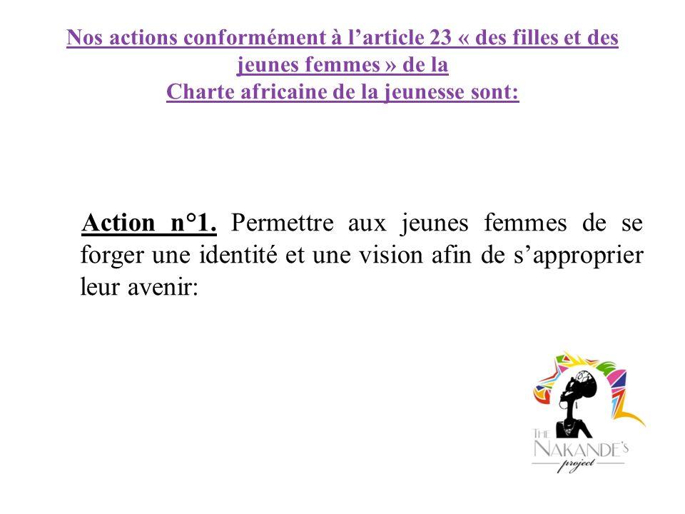Nos actions conformément à larticle 23 « des filles et des jeunes femmes » de la Charte africaine de la jeunesse sont: Action n°1. Permettre aux jeune