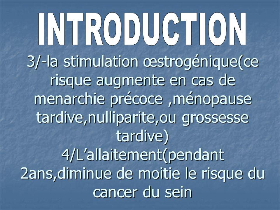 3/-la stimulation œstrogénique(ce risque augmente en cas de menarchie précoce,ménopause tardive,nulliparite,ou grossesse tardive) 4/Lallaitement(penda